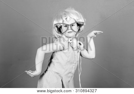 On Sound Wave With Technology. Small Child Wearing Wireless Stereo Headphones In Party Style. Techno