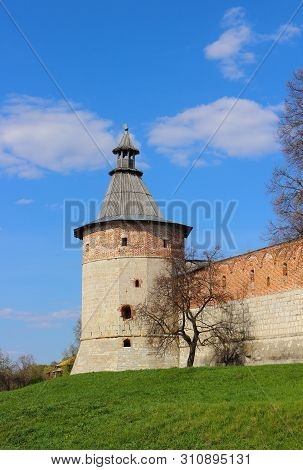 Sentry Corner Tower And Kremlin Wall In Zaraysk Town. Cultural Heritage Of The Middle Ages 16th Cent