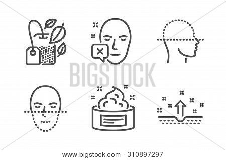 Face Declined, Face Scanning And Mint Bag Icons Simple Set. Skin Cream, Clean Skin Signs. Identifica