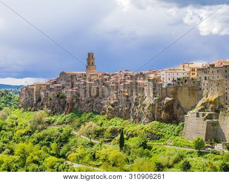 Stunning  View Of Pitigliano, Picturesque Mediaeval Town In Tuscany, Italy