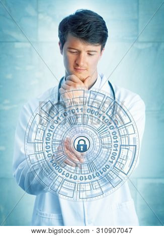 Young Pensive Medical Doctor Touching A Virtual Padlock In A Virtual Security Mechanism. Information