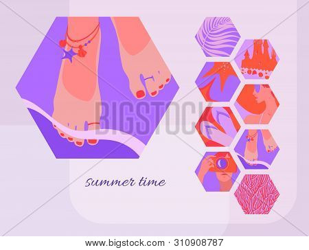 Summer Time Card Template With Women's Feet Adorned With Rings And Bracelets In The Oncoming Coastal