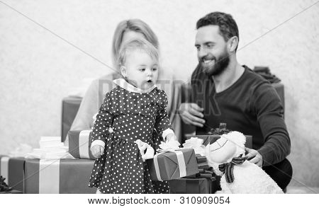 Couple In Love With Baby Toddler Celebrate Anniversary. Family Values. Lovely Family Cute Daughter.