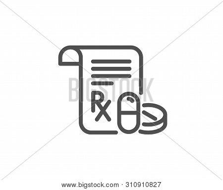 Medical Prescription Line Icon. Medicine Pills Sign. Pharmacy Medication Symbol. Quality Design Elem