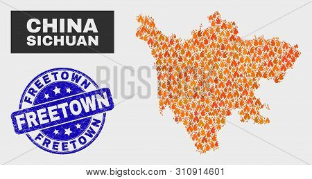 Vector Collage Of Fire Sichuan Province Map And Blue Round Textured Freetown Seal. Fiery Sichuan Pro
