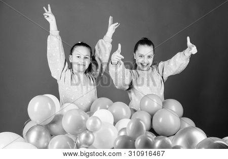 Greeting Concept. Having Fun Concept. Balloon Theme Party. Girls Friends Near Air Balloons. Start Pa
