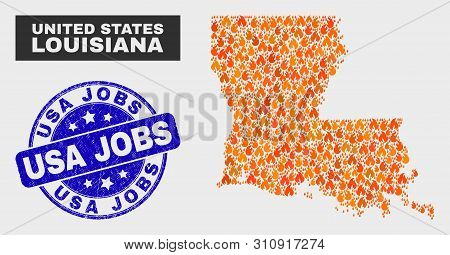 Vector Collage Of Fire Louisiana State Map And Blue Rounded Scratched Usa Jobs Stamp. Orange Louisia