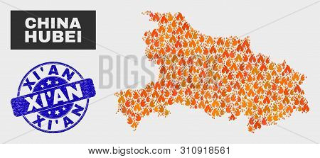 Vector Composition Of Flame Hubei Province Map And Blue Round Textured Xi'an Seal Stamp. Fiery Hubei