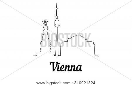 One Line Style Vienna Skyline. Simple Modern Minimalistic Style Vector.