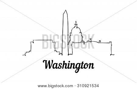One Line Style Washington Skyline. Simple Modern Minimalistic Style Vector.