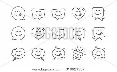 Yummy Smile Line Icons. Emoticon Speech Bubble, Social Media Message, Smile With Tongue. Tasty Food