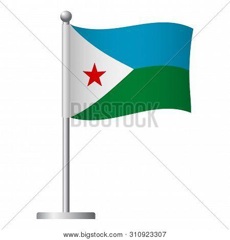 Djibouti Flag On Pole. Metal Flagpole. National Flag Of Djibouti Vector Illustration