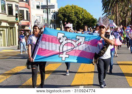 San Francisco, Ca - June 28, 2019: Unidentified Participants In The 16th Annual Trans March, A Celeb
