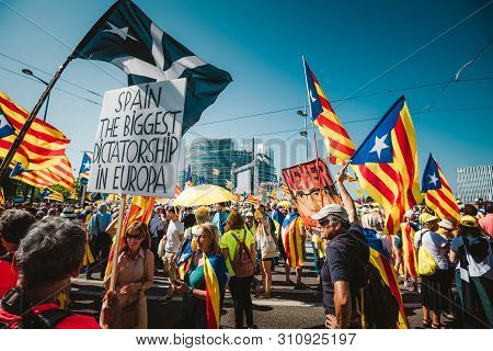 Strasbourg, France - Jul 2 2019: Placard Spain The Biggest Dictatorship In Europe Separatist Flags D