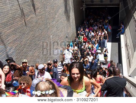 San Francisco, Ca - June 30, 2019: Hundreds Of Unidentified Participants Pouring Out Of Bart Station