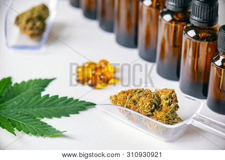 Assorted cannabis products including cannabis tincture or CBD oil, dried nugs and capsules isolated over white, medical marijuana concept