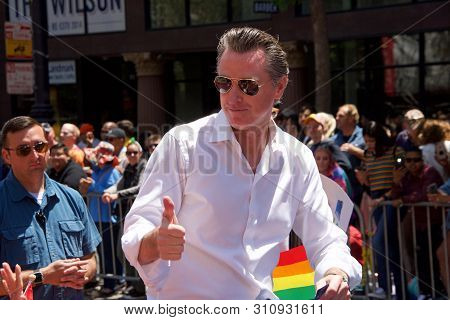 San Francisco, Ca - June 30, 2019: Gavin Newsom In The 49th Annual Gay Pride Parade, One Of The Olde