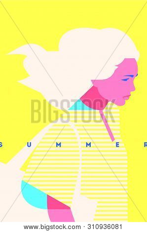 Summer Fashion Portrait Of A Blondie Model Girl. Retro Trendy Yellow Color Poster Or Flyer.