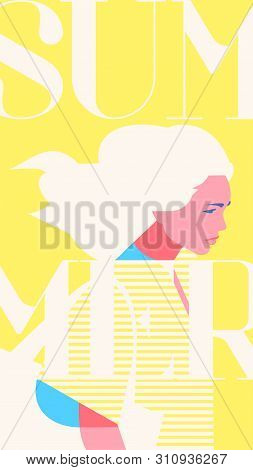Summer Fashion Portrait Of A Blondie Model Girl. Retro Trendy Yellow Color Stories Template.