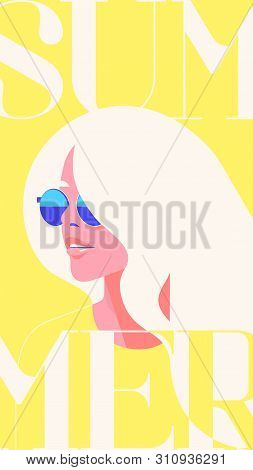 Summer Fashion Portrait Of A Blondie Model Girl With Sunglasses. Retro Trendy Yellow Color Stories T