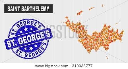Vector Collage Of Flamed Saint Barthelemy Map And Blue Round Textured St. George's Seal. Orange Sain