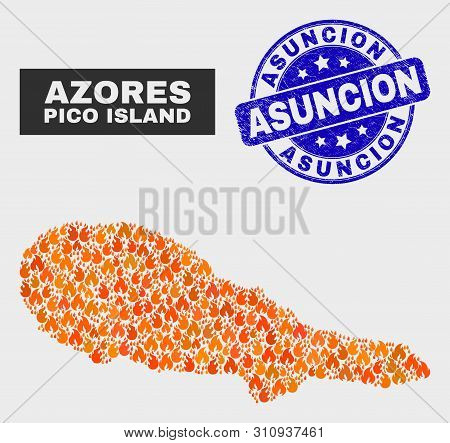 Vector Composition Of Fire Pico Island Map And Blue Rounded Textured Asuncion Seal Stamp. Fiery Pico