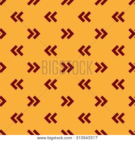 Red Arrow icon isolated seamless pattern on brown background. Direction Arrowhead symbol. Navigation pointer sign. Vector Illustration poster