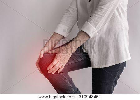 Elderly Woman Having Knee Pain, Concept Of Health Care.