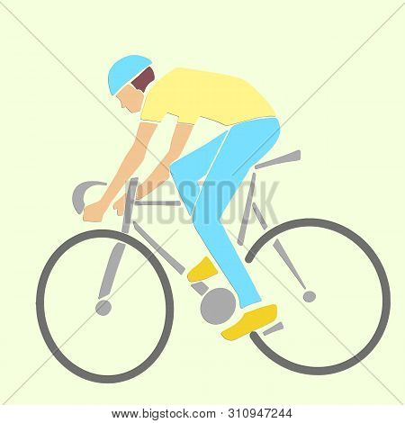 Single Male Bicyclist On Bicycle. Vector Cycling Race Illustration. Applique Or Paper Cut Style.