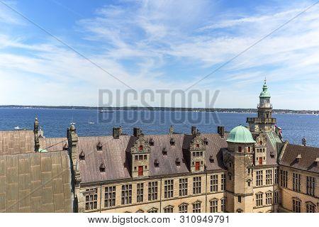 Helsingor, Denmark - June 23, 2019: Medieval Kronborg Castle On The Oresund Strait, Courtyard , Balt