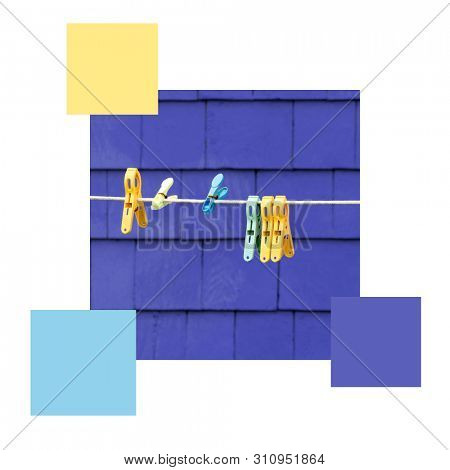 Clothes pegs, washing line and purple wall, set with colour swatches and space for text. Colour scheme themed image.