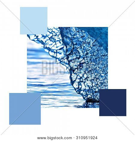 Blue iceberg in Svalbard, set with colour swatches and space for text. Colour scheme themed image.