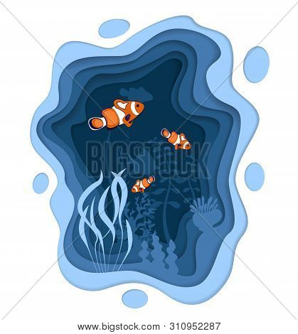 Underwater World Design With Coral Reef Fishes In Paper Cut Style. Exotic Aquarium Vector Illustrati