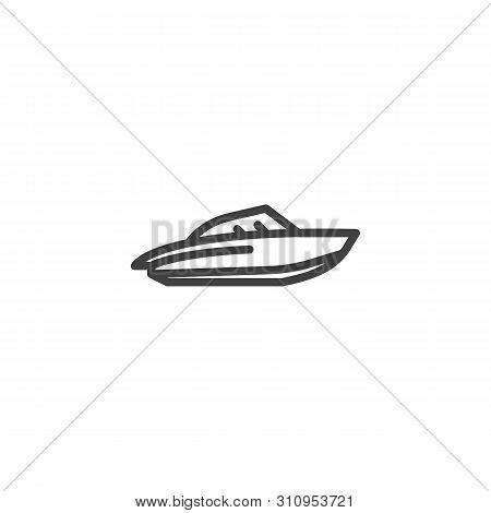 Water Scooter Line Icon. Speedboat Linear Style Sign For Mobile Concept And Web Design. Motorboat, P