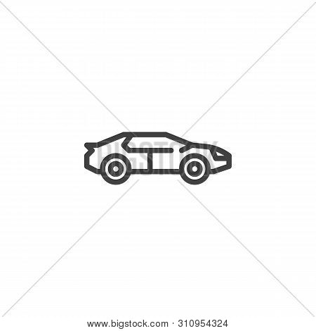 Racing Muscle Car Line Icon. Linear Style Sign For Mobile Concept And Web Design. Hatchback Car Outl