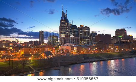Nashville, Usa -april, 6, 2017: Night Shot Of Downtown Nashville In Tennessel