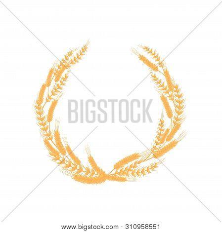 Round Frame Of Ears Of Different Density. Vector Illustration On White Background.