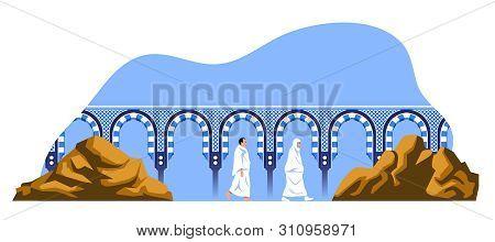 Walking Hajj Pilgrims Between Safa And Marwa Mount