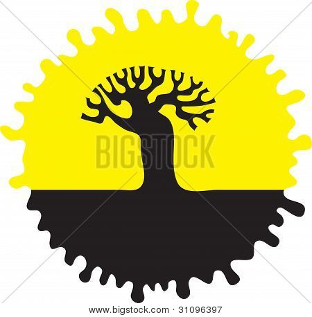 Silhouette of a tree.