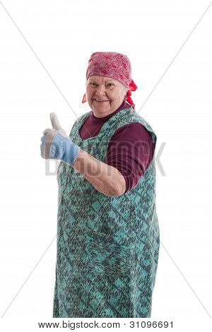 Active Elderly Woman Holding Thumbs Up