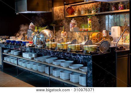 Buffet Line For Breakfast In Luxury Hotel.
