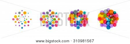 Abstract Virus Icon Set. Colorful Bacteria, Microbes, Fungi. Pathogenic Viruses Multiply. Virus Cell