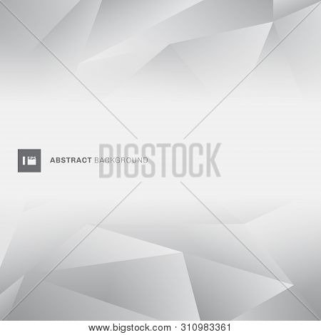 Abstract Gray Low Polygon Trendy Style With Space For Text. Geometric Grey Color Polygons Background