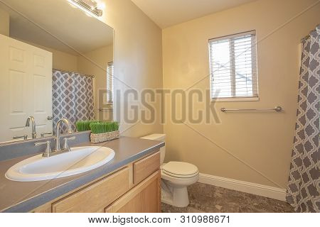 Bathroom Interior With Close Up Of Sink Cabinet And Mirror Beside The Toilet