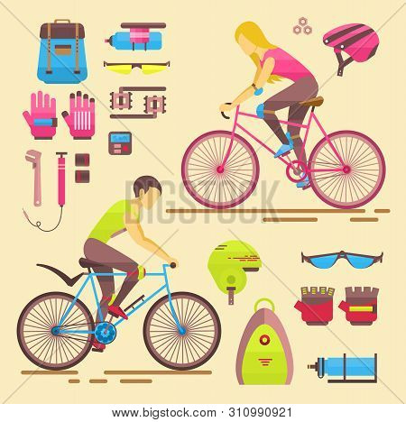 Sport Bikers Girl And Boy People On Bicycles Activity Fun Woman And Man On Bicycles. Urban Female Bi
