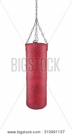 Red Boxing Bag On Chains Isolated On White Background With Clipping Path. 3d Rendering