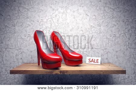 Red High Heel Woman Shoes On Shelve. Sale. 3d Rendering