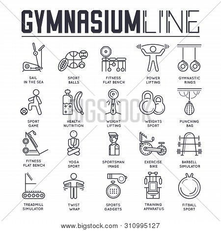 Set Of Gymnasium Thin Line Icons, Sport Logos.