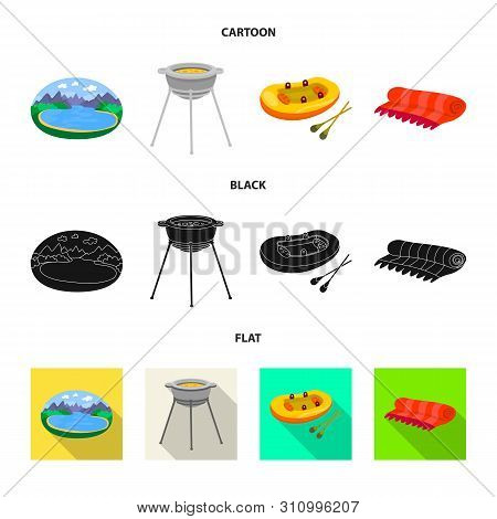 Isolated Object Of Cookout And Wildlife Icon. Set Of Cookout And Rest Vector Icon For Stock.