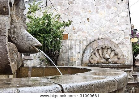 Detail of a fountain in the historic city of Morelia Mexico poster